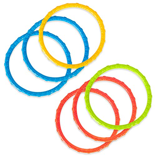 YHmall 6 Pack Pool Diving Toys Water Swimming Pool Diving Rings Toys for Kids Colorful Easy to Find and Grab (Blue) Connecticut