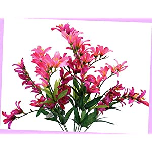 Artificial Beauty Freesia Bush 9 Artificial Silk Flowers 21″ Bouquet 6218by Bouquet Realistic Flower Arrangements Craft Art Decor Plant for Party Home Wedding Decoration