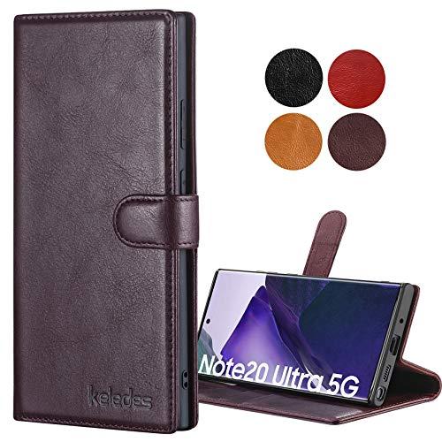 keledes Galaxy Note 20 Ultra Hülle, Echtleder Handyhülle Schutzhülle mit [RFID Schutz] [Kartenfach] [Stand] Magnet hülle aus Leder Handytasche Lederhülle für Samsung Galaxy Note 20 Ultra, Dunkelbraun