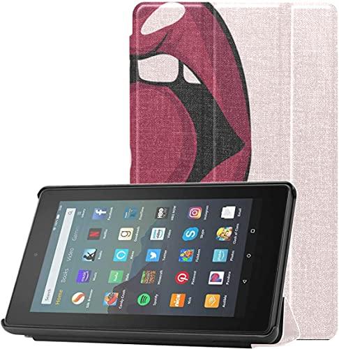 Funda para tabletas Fire 7 Pulgadas Mujer Labios Rojos con Cherry Fire 7 Funda Protectora para Tableta Fire 7 (novena generación, versión 2019) Ligera con Reposo automático/Despertador