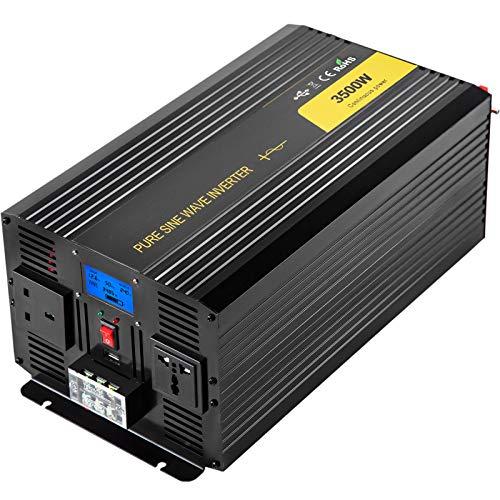 VEVOR Reine Sinus Wechselrichter 3500 W 7000 W, DC12V auf AC240V Stromwandler, LCD-Bildschirm und die LED-Anzeigelampe mit Fernbedienung, Spannungswandler aus Aluminiumlegierung für Küchengeräte usw.