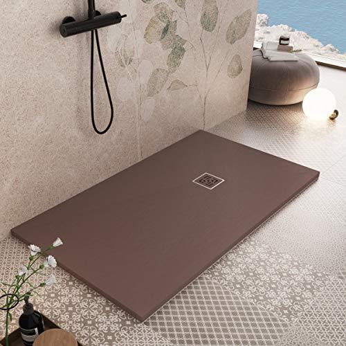 Essence ArredoBagno Plato de ducha de resina de 150 x 70 cm – Efecto piedra antideslizante con Gelcoat – Modelo Rome marrón – Rejilla y desagüe incluidos