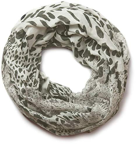 styleBREAKER Damen Loop Schlauchschal mit Leoparden Animal Print Muster, Schal, Tuch, 01017009, Farbe:Grau