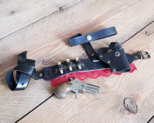 Steampunk Derringer Garter Holster With Derringer pistol, bullets and Lace. Sexy, deadly and comfortable leather complement. Black & Red