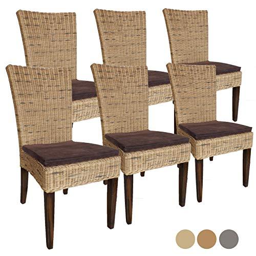 sillas Juego de Comedor sillas de ratán establecen Cardine 6 Pieza Silla de Comedor con/sin Amortiguador de Asiento con cojín del Asiento, cabaña de Color