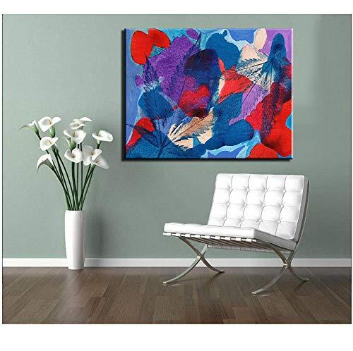 boboyz canvas moderne prints olieverfschilderij bladeren en kleur stuk canvas gedrukt muurschildering voor decoratie ideeën schilderen (Nee)