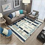 Alfombra grande y moderna antideslizante para interiores, lavable, para dormitorio, sala de estar, hogar, alfombra azul, beige, verde, línea de costura 140 x 200 cm