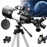 NOCOEX Telescopio Portátil para Niños, Adultos, Principiantes Actualizado, Apertura de 80MM 400MM de Distancia Focal Óptica Totalmente Multicapa con Trípode Ajustable, Adaptador de Teléfono