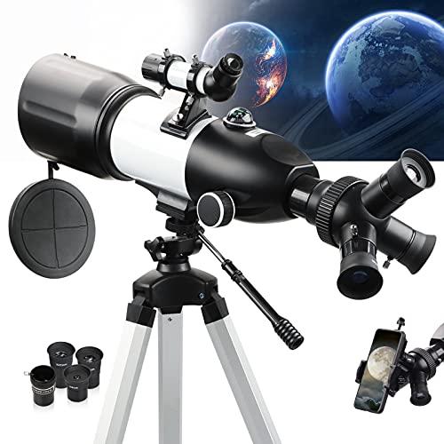 NOCOEX Telescopio Portatile per Bambini, Adulti, Principianti Apertura di 80MM Aggiornata, Lunghezza Focale 400 mm FMC Refrattori Telescopi con Treppiede Regolabile, Adattatore Telefonico