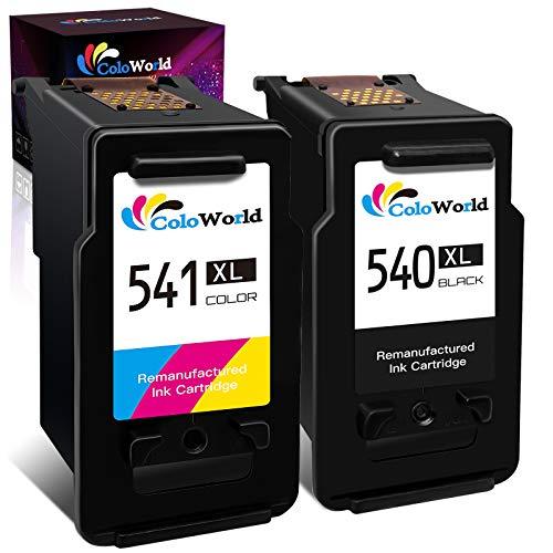 ColoWorld Remanufacturado 540 XL 541 XL Cartuchos de Tinta con Canon PG-540 XL Negro y CL541XL Color con Canon Pixma TS5150 TS5151 MX375 MX395 MG2250s MG2150 MG3150 MG3250 MG3550 MG3650 Impresoras