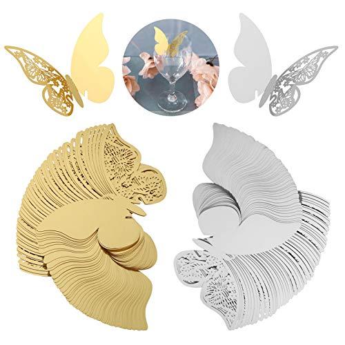Kesote 100 Pezzi di 3D Segnaposti di Farfalla Segnabicchiere di Festa Nuziale Decorazione di di Matrimonio, Festa di Compleanno, 50 Dorati + 50 Argento, 11 x 17CM