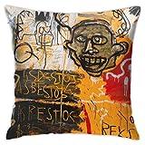 LongTrade Jean-Michel Basquiat P62 Fodera per Cuscino per Fodera per Cuscino Cuscino Quadrato Decorativo Moderno per Divano casa 18x18 Pollici