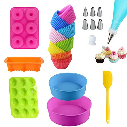 38 Pcs Silicone Baking Set With Donut Pans, 4.1 Inch Round Cake Pan, 6.7 Inch Round Cake Pan, Toast Loaf Pans, 12-Cups Muffin Pan, 24 Pcs Cupcake Molds,8pc Decorating Mouth Set, A Silicone Spatula