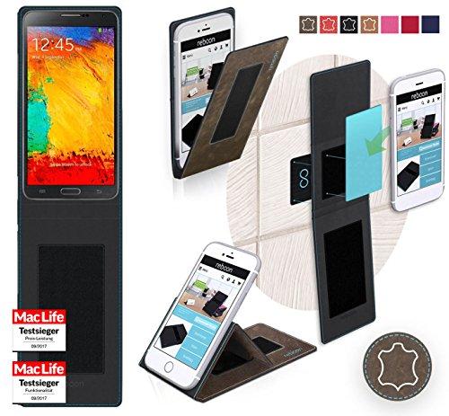 Hülle für Samsung Galaxy Note 3 Neo LTE Plus Tasche Cover Hülle Bumper | Braun Wildleder | Testsieger