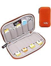 BOJLY Förvaringsväska för minneskort, organiseringsfodral för elektroniktillbehör i nylon vattentätt vadderat skyddande fodral med kapacitet för USB-nyckel, hörlurskabel och extern hårddisk,, 6 Capacities, Orange