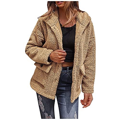 Abrigos para mujer cortos para mujer, cuello descubierto, manga larga, abrigo de felpa con bolsillos, color sólido, amarillo, XL