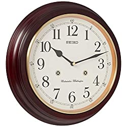 SEIKO 12 Round Wood Grain Finish Wall Clock with Dual Quarter Hour Chimes