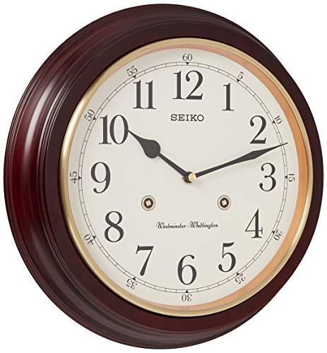 SEIKO 12' Round Wood Grain Finish Wall Clock with Dual Quarter Hour Chimes