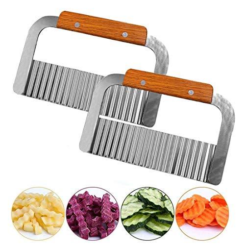 INTVN Kartoffelschneider, Pommesschneider, Wellenschnittmesser Edelstahl Klinge mit Holzgriff, Küchengerät Schneidewerkzeug für Gemüse, Kartoffeln, Zwiebeln, 2 Stück