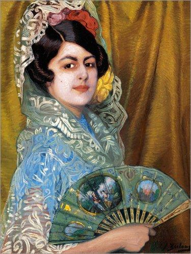 Posterlounge Lienzo 60 x 80 cm: Dama con Abanico (Lady with a Fan) de Ignacio Zuloaga Zabaleta - Cuadro Terminado, Cuadro sobre Bastidor, lámina terminada sobre Lienzo auténtico, impresión en Lienzo