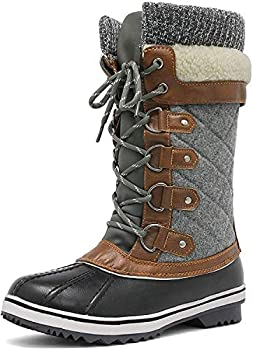 DREAM PAIRS Women s Monte_02 Black Grey Mid Calf Winter Snow Boots Size 8 M US