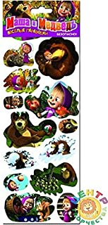 RusToyShop 2 psc transferable Decal Sticker Random masha and Bear (11,8 inch) Kids Birthday Party Favor Childrens Presents Boys and Girls Gift Party Cake Topper Supplies Table Party Treats