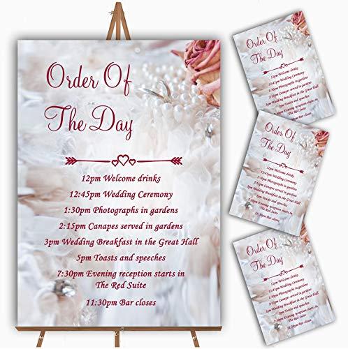 Roze Rose Parel Ringen Gepersonaliseerde Bruiloft Orde van De Dag Kaarten & Tekenen 90 x A5 Prints