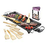 MisterChef® XL Teppanyaki Grill - Electric BBQ Table Top Grill with Adjustable Temperature Control and 8 Spatulas - 1800W - Free Recipe Book Enclosed