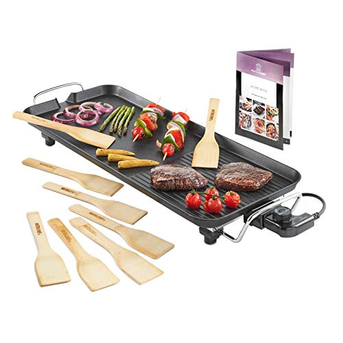 MisterChef XL Teppanyaki Grill - Electric BBQ Table Top Grill with Adjustable Temperature Control and 8 Spatulas - 1800W - Free Recipe Book Enclosed