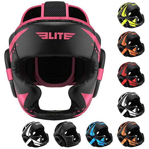 Boxing MMA Sparring Kickboxing Headgear for Men, Elite Sports Muay Thai Boxing Head Guard Helmet for Head Protection (Pink/Black)