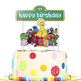 Artczlay Elmo Happy Birthday Cake Topper Sesame Street Party Cake Decoration Boy Girl Birthday Party Cake Topper