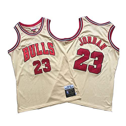 Michael Jordan Chicago Bulls Basketball Trikot Herren #23 Classic Bestickt Retro Jersey Jugend Fan Edition Weste Outdoor Schnell Trocknend Atmungsaktiv Sweatshirt (S-2XL)-Gold-M
