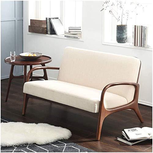 Sofá doble de madera maciza, terraza tela casual sillón y cojín,A