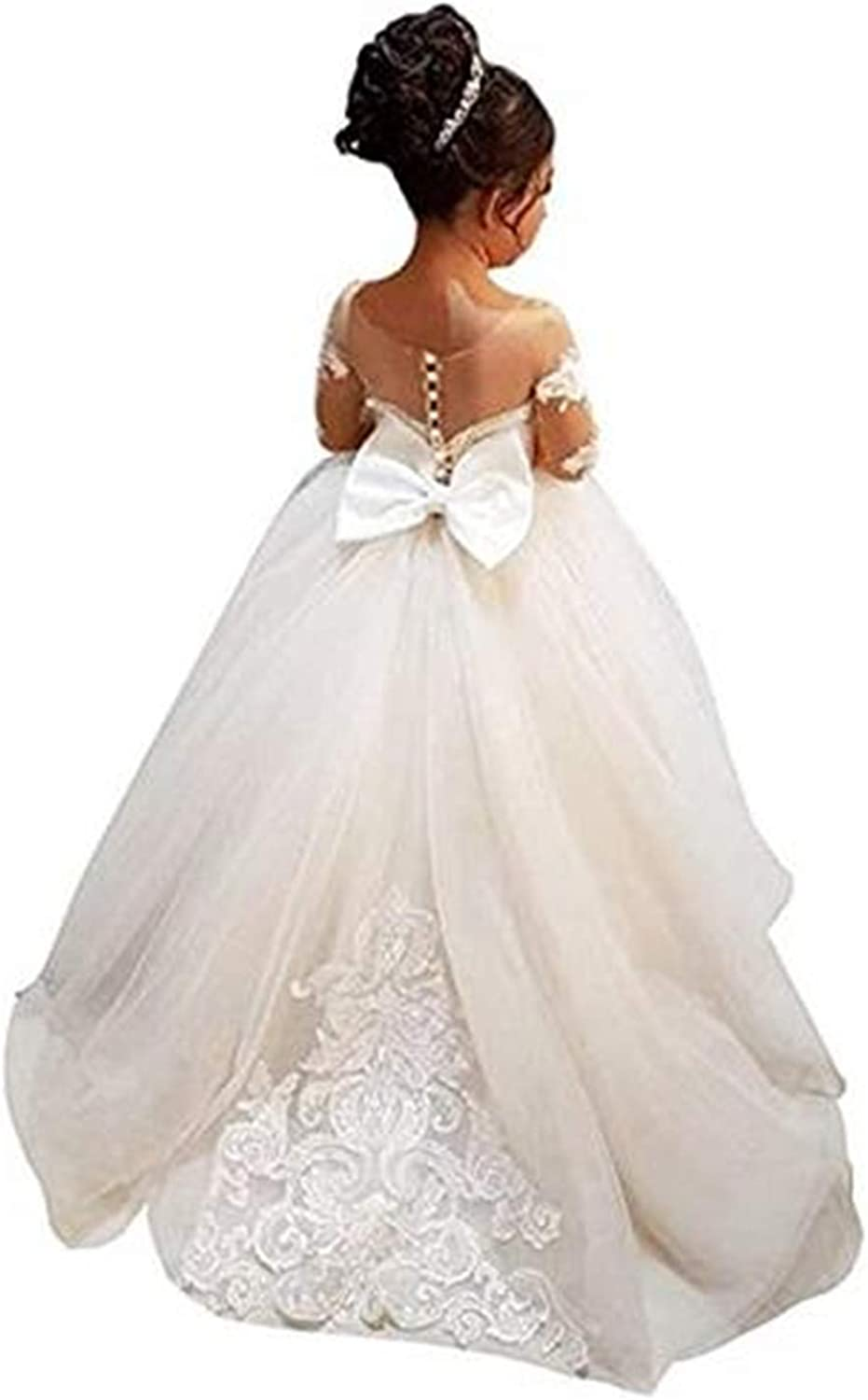 Elegant Flower Girls First Communion Dresses Long Sleeve Kids Lace Pageant Ball Gown