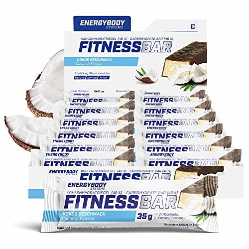 """Energybody Fitness Bar """"Kokos"""" 24x 35 g / Energie-Riegel mit Proteinen & Kohlenhydraten / energiespendender Fitness-Riegel als Sport Riegel / Power Riegel für zwischendurch"""