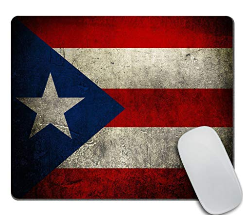 Amcove Puerto Rico Flag Vintage Style Blue Red Mouse pad Gaming Mouse pad Mousepad Nonslip Rubber Backing