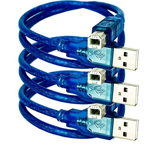 AZDelivery 3 x blaues USB-B auf USB-A Kabel kompatibel mit UNO R3 und Mega 2560 und jeglichen Arduino-Kompatiblen Entwicklungsboards und Mikrocontroller