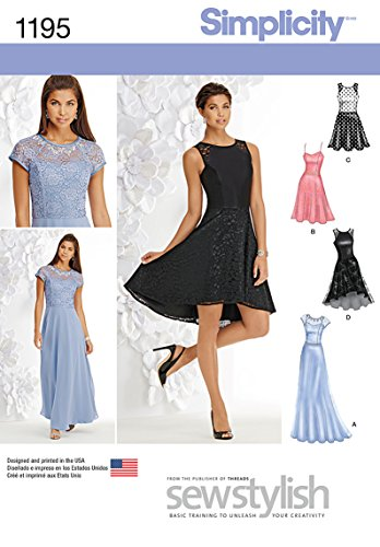 Simplicity Sewing Pattern 1195 Miss Petite Special Occasion Dress, Size: P5 (12-14-16-18-20), Paper, White