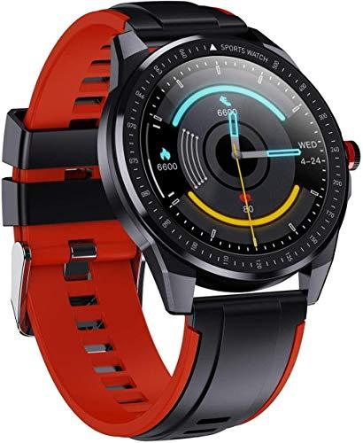 Reloj inteligente 1.28 pulgadas Full Circle Full Touch Recordatorio de llamada contador de pasos IP68 impermeable pulsera Bluetooth rojo