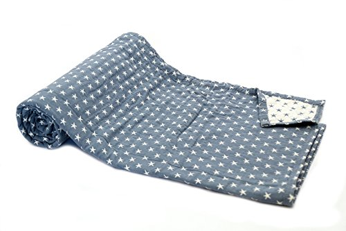 1001 Wohntraum 17JN07 Quilt Leonie Sterne grau - blau 150 x 200 cm, Plaid Tagesdecke, Stern Muster Vinatge Decke