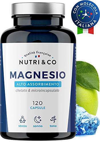 Magnesio+Vitamina B6 Bio-Attiva | 120 Capsule Magnesio Malato & Microincapsulato | Assorbimento Supremo a Bisglicinato (No Stearato & Citrato) | Alto Tenore (300mg Mag Elem/3xDì) | NUTRI&CO