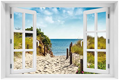 Wallario Acrylglasbild mit Fenster-Illusion: Motiv Auf dem Sandweg zum Strand - 60 x 90 cm mit Fensterrahmen in Premium-Qualität: Brillante Farben, freischwebende Optik