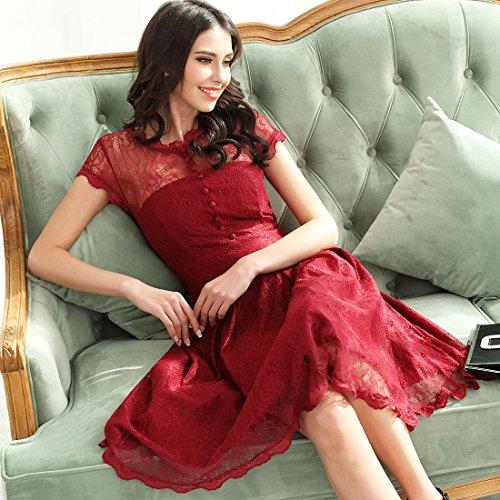 Miusol Damen Elegant Spitzenkleid Cocktailkleid Knielanges Vintage 50er Jahr Abendkleid Dunkelblau Gr.M - 5
