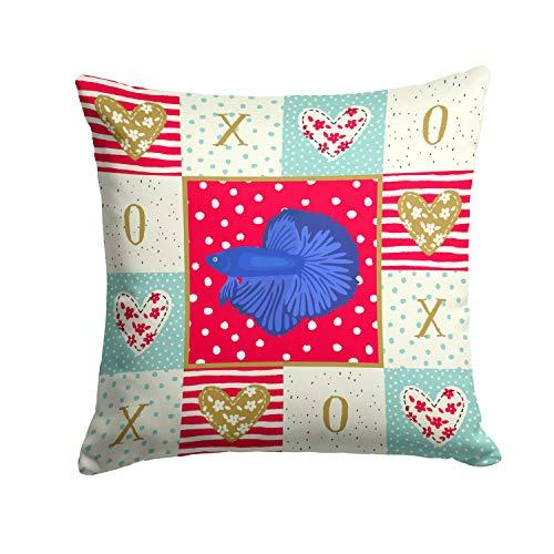 Caroline's Treasures CK5493PW1414 Super Delta Tail Betta Love Fabric Decorative Pillow, 14Hx14W, Multicolor