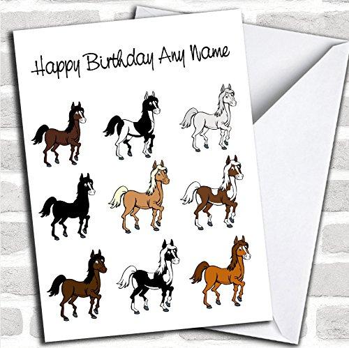 Diverse Paarden Verjaardagskaart Met Envelop, Kan Volledig Gepersonaliseerd, Verzonden Snel & Gratis