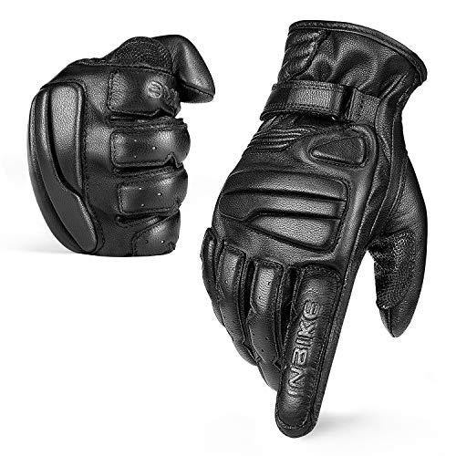 INBIKE Guantes Moto Piel Cuero para Hombre Mujer Moto Antideslizante De Motocross Motocicleta con Función Táctil(CM310-M)