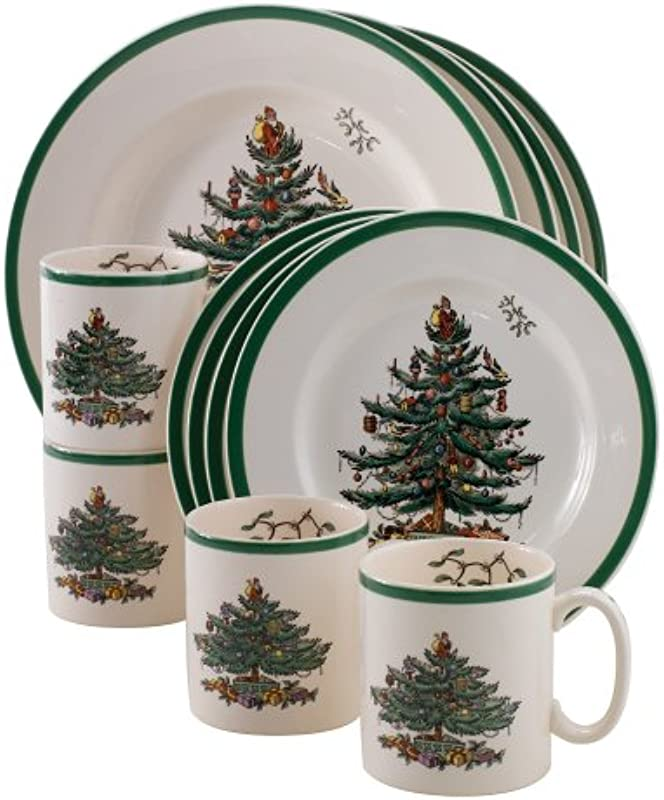 Spode Christmas Tree 12 Piece Dinnerware Set Service For 4