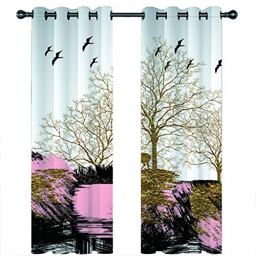 Leeypltm 1 set 2 Panels -3D Blackout Curtains, Curtain For Eyelet, Pleat Curtains, Tents for cute animals2 x W 46 x D 72inch,Apply to: bedroom/living room/balcony, etc.