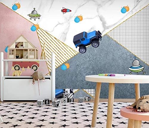 Tony plate 3D Foto Wandgemälde Bild Geometrische Kleine LKW Poster Jungen Mädchen Schlafzimmer Kindergarten Tierhandlung Klassenzimmer Dekoration Wandbild Tapete-200Cmx140Cm(Lxh)
