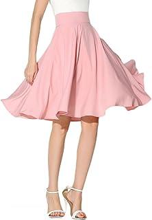 PERSUN Women's Solid Flared High Waist Pleated Midi Skater Skirt